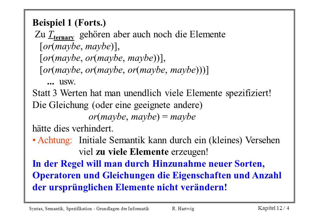 Beispiel 1 (Forts.) Zu Tternary gehören aber auch noch die Elemente. [or(maybe, maybe)], [or(maybe, or(maybe, maybe))],